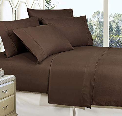 Celine Linen Best, Softest, Coziest Bed Sheets Ever! 1800 Thread Count Egyptian Quality Wrinkle-Resistant 4-Piece Sheet Set with Deep Pockets 100% , Full Chocolate Brown