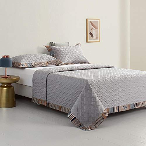 Rubyurphy Quilt Patchwork Design réversible, Lit Double matelassé, Ensemble de literie, 2 taies d'oreiller-Grise_245x270cm