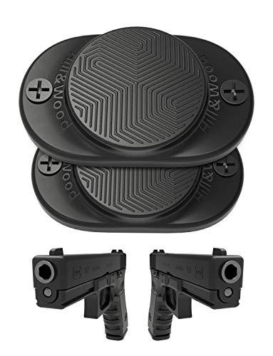 Gun Magnet [2-Pack]   30 lbs Rated   Rubber Coated Magnetic Gun Mount   Hill & Wood Gun Magnet-Concealed Gun Holder for Car, Handgun, Pistol, Rifle, Shotgun, Revolver