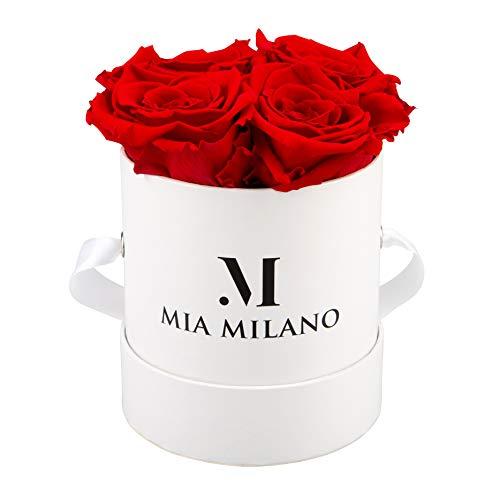 Mia Milano ® Scatola di rose con 4 rose Infinity | Fioriera (confezione regalo di matrimonio) fiori conservati 3 anni durevoli (Bianco- Rosso)