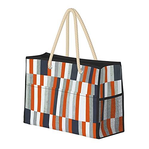 Bolsa de playa grande y bolsa de viaje para mujer – Bolsa de piscina con asas, bolsa de semana y bolsa de noche – naranja, azul marino, gris, rayas abstractas náuticas