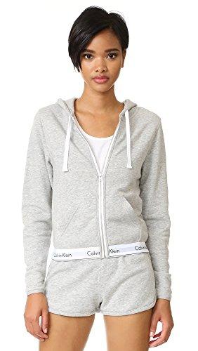 Calvin Klein Women's Modern Cotton Full Zip Hoodie Top, Grey Heather, Medium