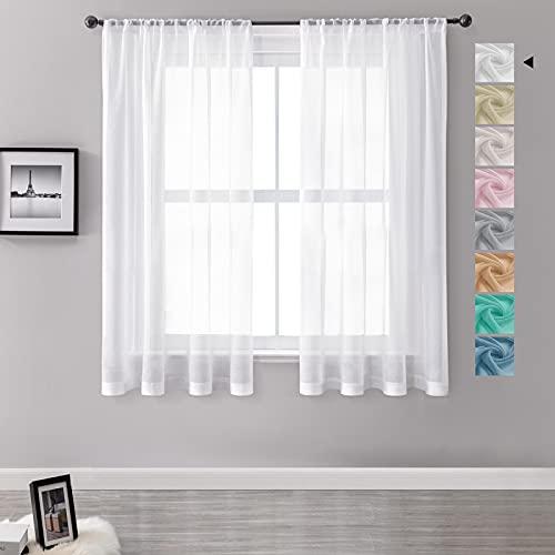 MRTREES Vorhänge Gardinen mit Store Vorhang Voile halbtransparent kurz in Leinenoptik Gardine Schals Weiß 145×140cm (H×B) für Wohnzimmer Schlafzimmer Kinderzimmer 2er Set