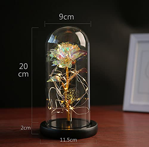 Glass Gold Foil Rose Beauty and The Beast Rose Eternal Forever Flower in Glass,Beautiful Creative Gift for Valentine's Day Mother's Day Christmas Anniversary Birthday Thanksgiving (Colored Foil Rose) Silk Flower Arrangements