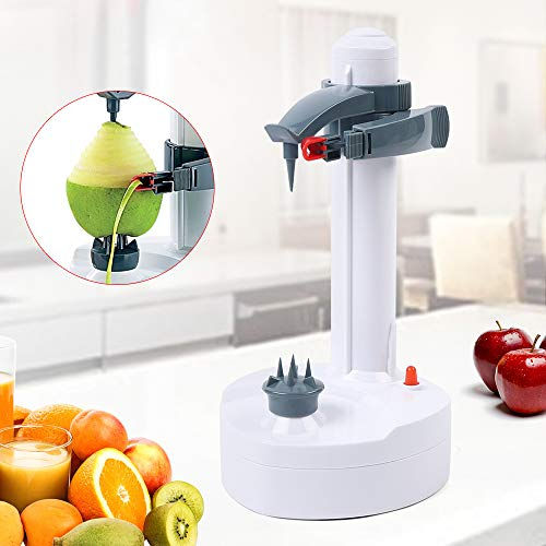 Rapid Peeler, Potato Peeler Electric Auto Rotating Apple Vegetable Fruit Peeler Stainless Steel Kitchen Peeling Tool with 2 Extra Blades White (No battery and charger)