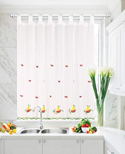 Cortina Cocina Ventana Visillo Translúcida para Hogar Sala Dormitorio Balcón y Cocina, Cortina Bordado Decorativa Suave (Sandía, 90 x 150 cm)