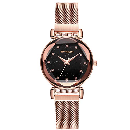 RORIOS Damen Uhren Armbanduhren Leuchtenden Sternenklarer Himmel Dial Damenuhr Armbanduhr Analog Quarz Ultradünne Edelstahl Mesh Band Ladies Watches