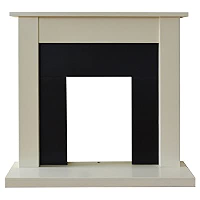 Adam Sutton Fireplace in Cream and Black, 43 Inch
