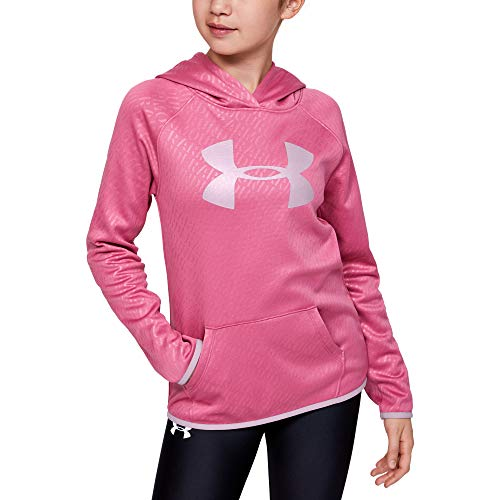 Under Armour Girls' Armour Fleece Emboss Hoodie, Pacers Pink//Pink Fog, Youth X-Small