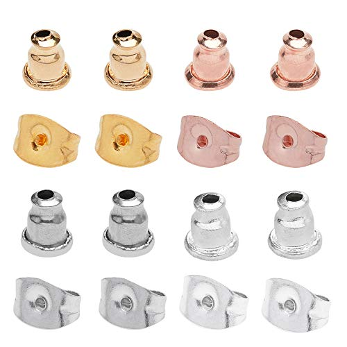 UNICRAFTALE 4 Colores 120 uds Tuercas de Oreja 0.8~1mm Pin Pendientes de Acero Inoxidable Respaldos de Oreja Tapones de Pendiente de Bloqueo para Pendiente de Poste