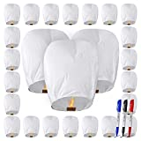 All Natural Shop 25 Pack Chinese Sky Lanterns - White, 100% Biodegradable. Wire-Free Paper Japanese Prime Paper Sky Lantern to Release in Sky.