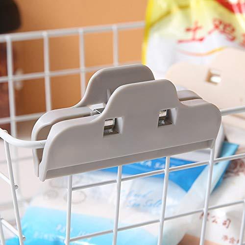 Chutoral Verschlussklammern, Lebensmittelaufbewahrung, Beutelverschluss, Kunststoff, dichter Verschluss, bunt, für Küche und Büro grau