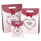 Happiest Thank you ギフトバッグ(大・中・小3サイズセット)かわいい リボン 紙袋 プレゼント ラッピング 手提げ トートバッグ (ホワイト)