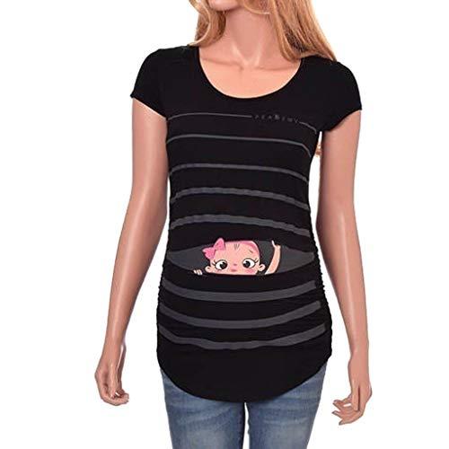 T-Shirt De Maternité,Innerternet Femme T-Shirt Chic Tops à Manche Courte VêTement De Maternité Mignon Imprimé BéBé Allaitant Enceinte Grossesse Tops Hauts Pullover De Allaitement (B Noir,XXL)