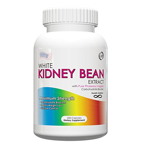 White Kidney Bean Extract- 1000mg Per Serving, 200 Capsules, 90 Day Supply, Carb Blocker and Appetite Suppressant, (Holiday Weight Loss Supplements)