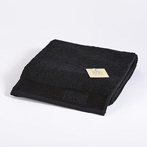 Burrito Blanco Toalla de Mano/Toalla de Lavabo Lisa de Rizo Suave Algodón 100% de 50x100 cm, Color Negro