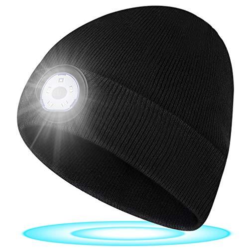 Geschenke für Männer Mütze mit LED Licht - Vatertagsgeschenk LED Mütze mit Licht, LED Mütze Angelgeschenke für Männer und Frauen, Waschbare LED Mütze für Fischen, Camping, Laufen, Radfahren, Skifahren
