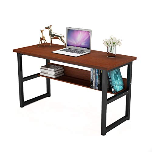 "Computer Desk with Bookself Office Desk Workstation 2 in 1 Desk and Bookcase PC Laptop Study Table for Home Office (55"" Walnut)"