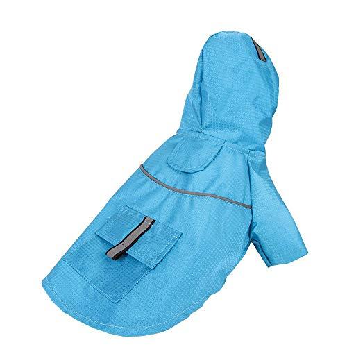 Miwaimao - Chubasquero para perros con capucha para primavera y verano, color azul