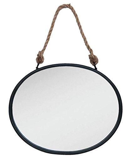 Clayre & Eef 52S092 spiegel/wandspiegel metalen rand zwart industrieel ovaal 50 x 4 x 40 cm vintage