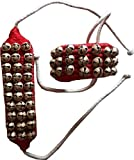 KVR Kathak Bharatnatayam indian traditional dance anklets brass bells ghungroo pair tied over velvet pad for comfortable performance (3 row of bell, Red)