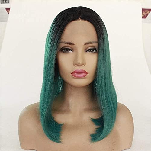 Pelucas Pelucas con estilo para las mujeres Europa y los Estados Unidos antes de las pelucas elegantes de las señoras de encaje para las mujeres de moda Bobo Head degradado Color recto pelo de alta te