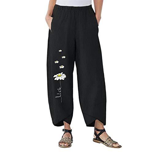 Shujin - Pantalones de verano para mujer, estilo bohemio, longitud 7/8, tallas grandes, estampado de margaritas, corte cómodo, cintura alta, pantalones de yoga, pantalones con pierna ancha Negro XXL