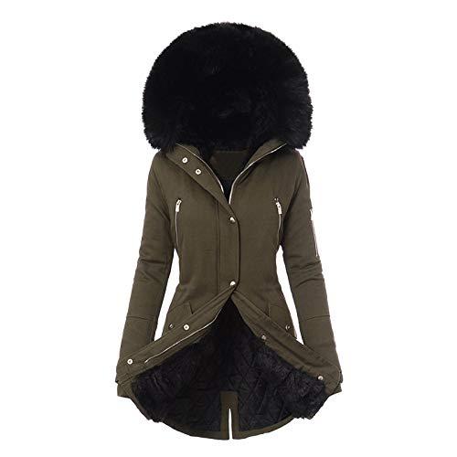 BIBOKAOKE Chaqueta de invierno para mujer con capucha de piel, parka, abrigo cálido de pelo sintético, forro de felpa, abrigo de invierno, corte ajustado, tallas grandes