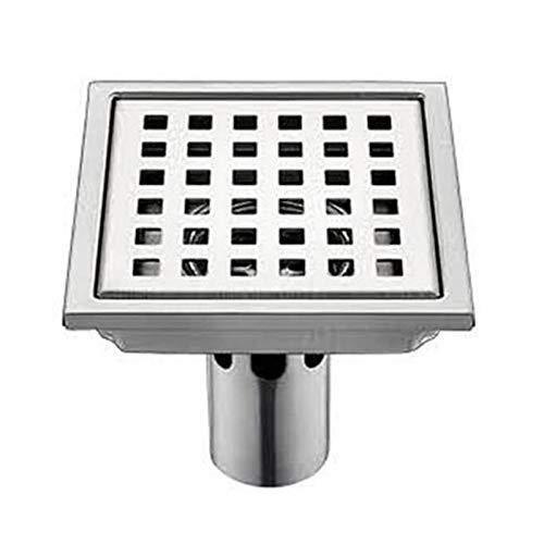 Yiyu Edelstahl Bodenablauf Duschrinne, Ablaufrinne Für Dusche, Quadrat 150 Mm Duschrinne Bodenablauf Duschablauf, Geruchsstop Und Haarsieb x (Color : Silver)