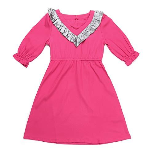 Baby Girl Daily Kleid mit langen Fledermausärmeln und pfirsichfarbenem Herzkragen Kid Causal Elastic Taille Kleid mit heller Farbe(90-Rosenrot)