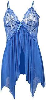 Lingerie Ropa Women's Lace Lingerie Nightdress Spaghetti Strap Sleepwear Deep V Babydoll G-string