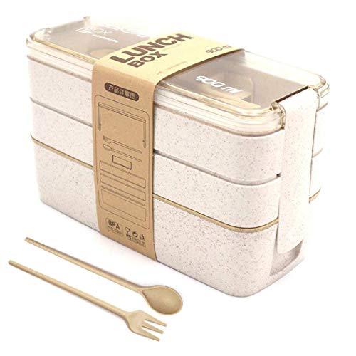 Lunch Box, Bento Box, Anti-Fuite Écologique Bento, Blé Naturel 3 Compartiments 900ml Anti-Fuite Écologique Boîte de Conservation avec Fourchette, Cuillère pour Kids Adultes (Beige)
