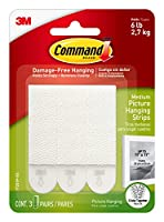 INCLUDES- 3 Pairs of Medium, White Command Picture Hanging Strips (6 Strips total); 3 Pairs hold 9 lbs. Maximum frame size of 18 inches x 24 inches DAMAGE-FREE DECORATING- Say goodbye to holes, marks, or sticky residue on your walls; Command Picture ...