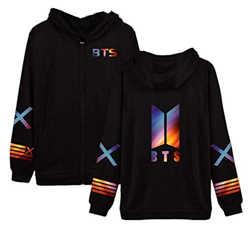 SXhyf New BTS Merchandise SXhyfipper Hoodie Jacket Kpop Bangtan Boys Loose Coat Sweatshirt,The Best Souvenir (Color : Black, Size : S)