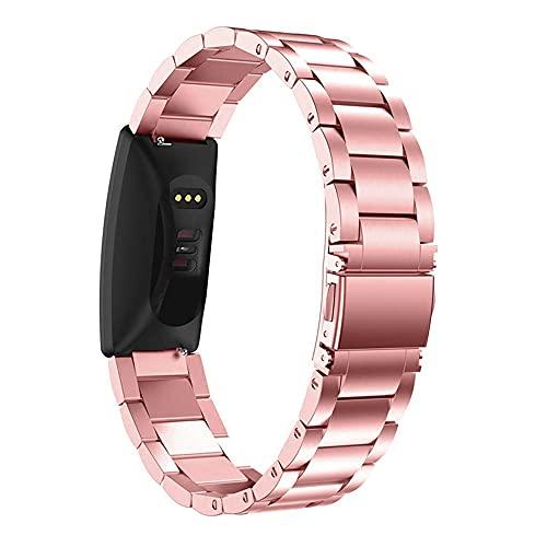 AISPORTS Compatible con Fitbit Inspire/Inspire HR Correa de acero inoxidable para mujeres y hombres, correa de repuesto ajustable de metal sólido para Fitbit Ace 2/Inspire/Inspire HR Fitness Tracker