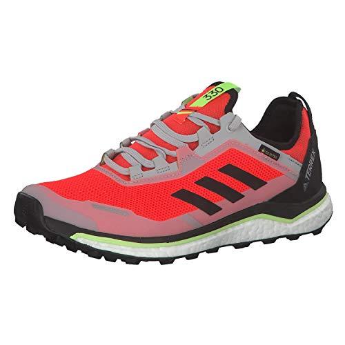 adidas Herren Terrex Agravic Flow GTX Leichtathletik-Schuh, Solar Rot/Kern Schwarz/Signal Grün, 45 1/3 EU