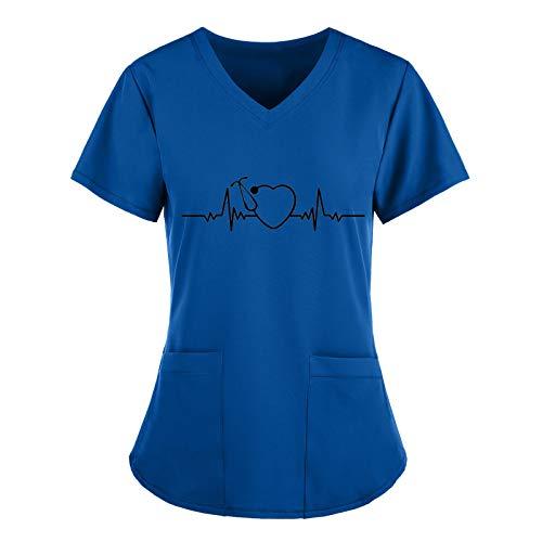 BIBOKAOKE Camiseta de manga corta para mujer, cuello en V, con diseo de amor, transpirable, para enfermeras