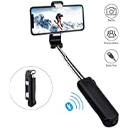 Selfie Stick, Mini Selfie Stick with Bluetooth Wireless Remote for iOS & Android, Compatible with Small Camera, iPhone11 pro/11/XS max/XS/XR/X/8/8 plus/7/7 plus/6s, Galaxy S10/S9/8, Huawei, More