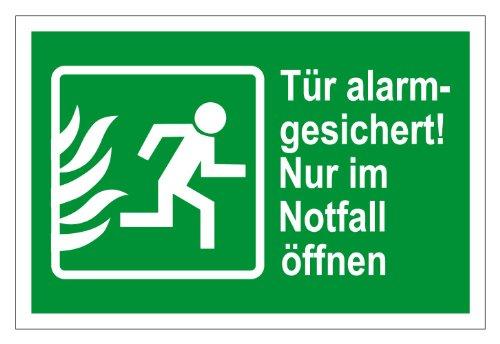 Rettungswegschild - Tür alarmgesichert! Nur im Notfall öffnen - Selbstklebende Folie - 20 x 30 cm