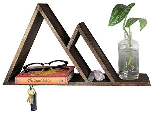 cSc Bundok Life Mountain Shelf - Magnetic Key Holder for Wall with Shelf & Dog Leash Holder | Mountain Decor Floating Shelves for Modern Rustic Decor Geometric Decor Woodland Nursery Decor