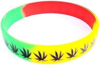 Rasta Cannabis Weed Skunk Leaf - Braccialetto da polso in gomma siliconica