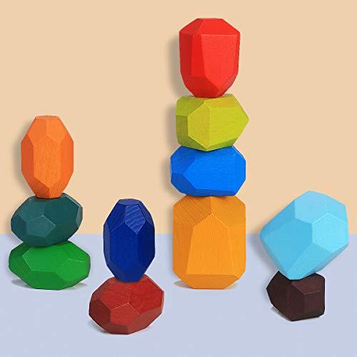 Blocchi di Costruzione di Pietre del Legno, Montessori Giochi da Impilare per Bambini Colorato Blocco D'equilibrio in Legno di Pietra Naturale Giocattoli Educativi Impilabile & Ornamento (11 pieces)