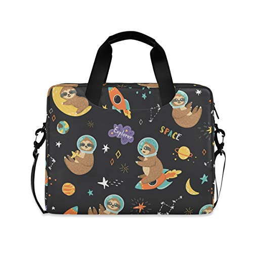 MAHU Laptop Case Bag Sloth Astronaut Space Planet Star Laptop Sleeves Briefcase 13 14 15.6 inch Computer Messenger Bag with Handle Strap for Women Men Boys Girls