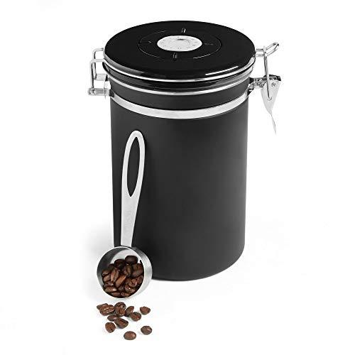 VonShef Kaffeedose, großes Gefäß - luftdichter Küchenbehälter mit Messlöffel und Frischekalender für Tee, Kaffee und mehr - Schwarz