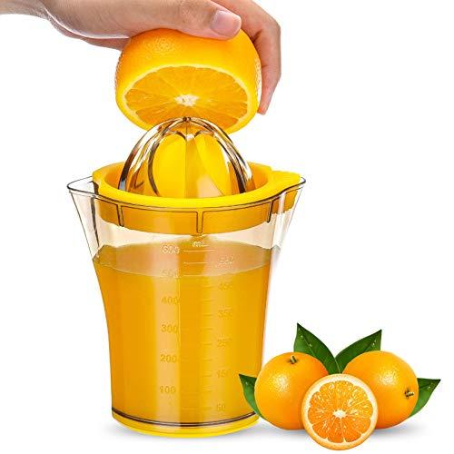 Zitronenpresse Zitruspresse Plastik Manuell 2-in-1 mit Große Kapazität, Behälter 600ml mit Messmarkierungen, Ø10,5cm, BPA-frei Lebensmittelechtem Handpresse Saftpressen Limetten/Orangen presse