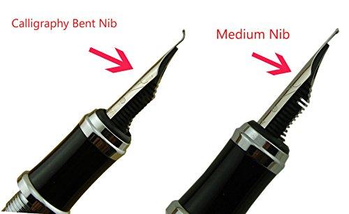 Duke Black Fountain Pen Fude Pen Nib Interchangeable Calligraphy Broad Pen Coffee Leather Pen Case Set
