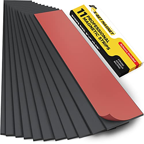 Magnet Strips with Adhesive Backing - Flat Thin Magnetic Tape for Crafts - Tool and Knife Magnetic Strip for Garage, Kitchen and Garden - Sticky Magnetic Tool Holder for Wall