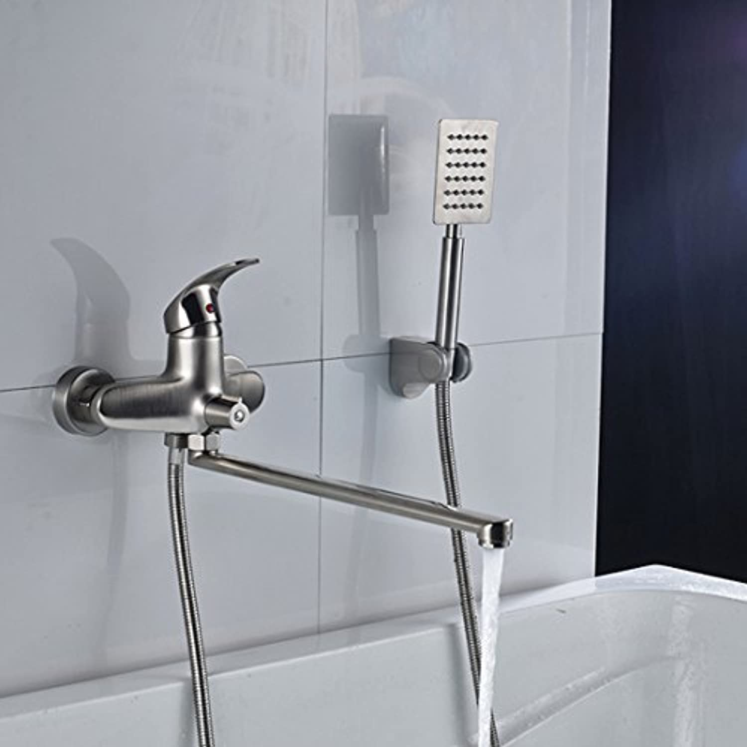Better Quality Long spout Outlet Faucet Glass to The Wall Assembled at Longnose Glass with Hand Shower & Bearer, B