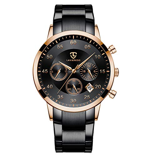 Mens Watches Business Fashion Casual Classic Chronograph Multifunction Black Rose Gold Waterproof...