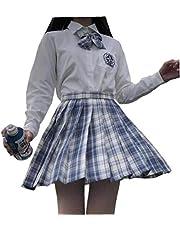 NaiCasy Muchachas de la escuela Camisa Camisa Uniforme JK blanca de manga corta/larga Señora estilo de la universidad japonesa juego de la camisa del estudiante bordado/color sólido XS-2XL